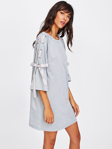 Grey Marled Tee Raglan Sleeve Ribbon Lace Up Dress