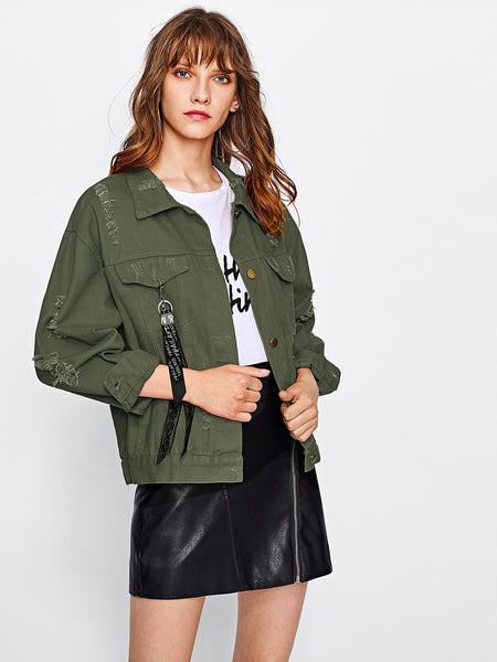 Green Ribbon Detail Drop Shoulder Ripped Jacket