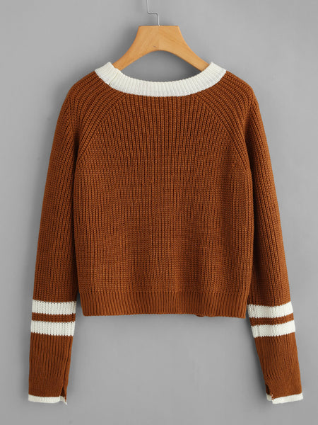 Coffee Striped Contrast Trim Cable Sweater