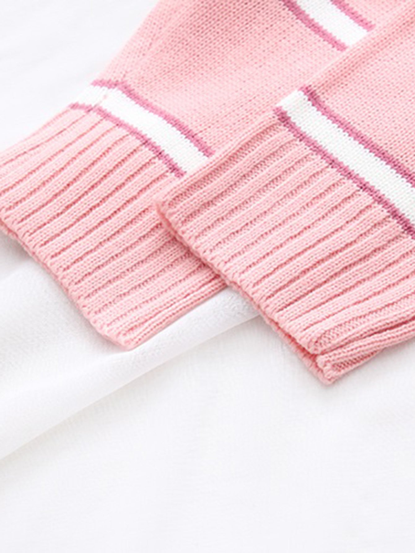 Pink Striped Ribbed Trim Sweater