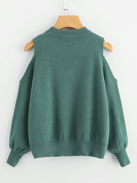 Green Cold Shoulder Lantern Sleeve Sweater