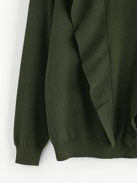 Green Frill Trim Ribbed Hem Knitwear