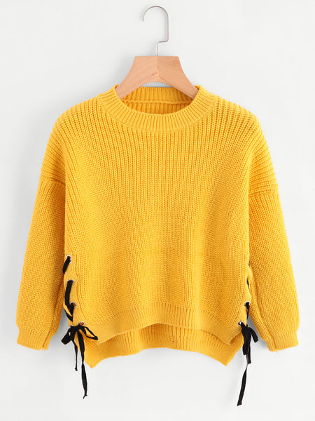 66301a97dbe442 Yellow Eyelet Lace Up Side High Low Sweater – Lyfie