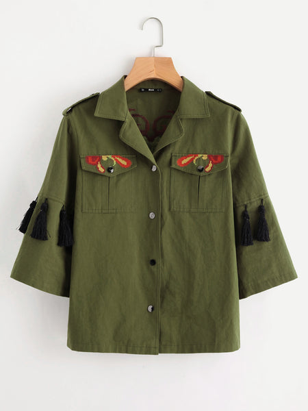 Green Tassel Trim Embroidered Button Front Jacket