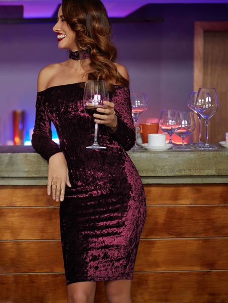 Burgundy Off Shoulder Halter Long Sleeve Bardot Velvet Dress