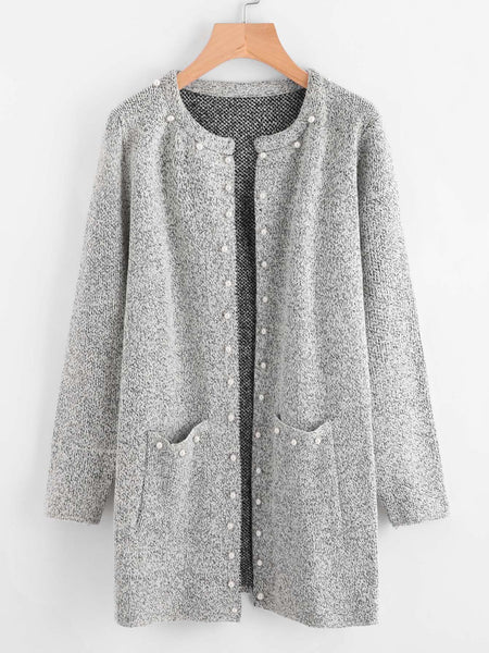 Grey Faux Pearl Accent Front Pocket Marled Knit Coat
