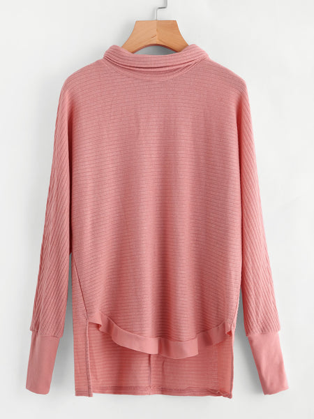cc88a8b951d384 Pink Funnel Neck High Low Ribbed Pullover – Lyfie