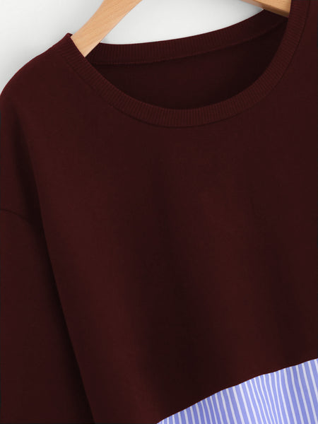 Burgundy Contrast Stripe Round Neck Drop Shoulder Sweatshirt