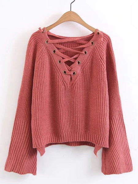 Brown Plunge Neckline Lace Up Bell Sleeve High Low Pullover