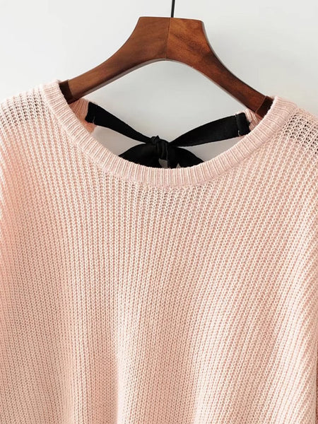 Apricot Drop Shoulder Tie Back Loose Knitwear