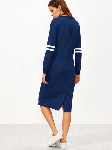 Blue Varsity Print Striped Contrast Round Neckline Long Sleeve Slit Back Sweatshirt Midi Dress