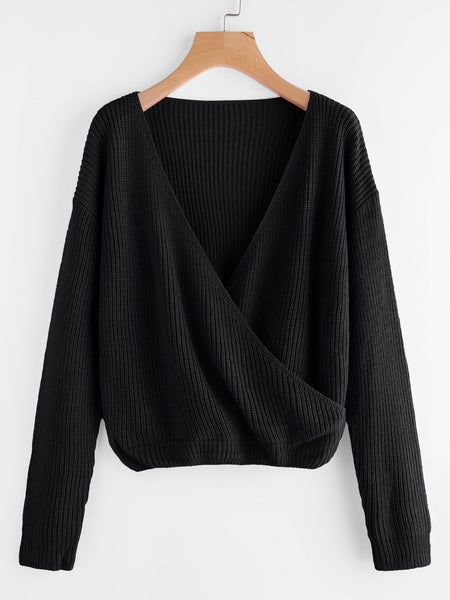 Black V-Neck Drop Shoulder Surplice Front Sweater