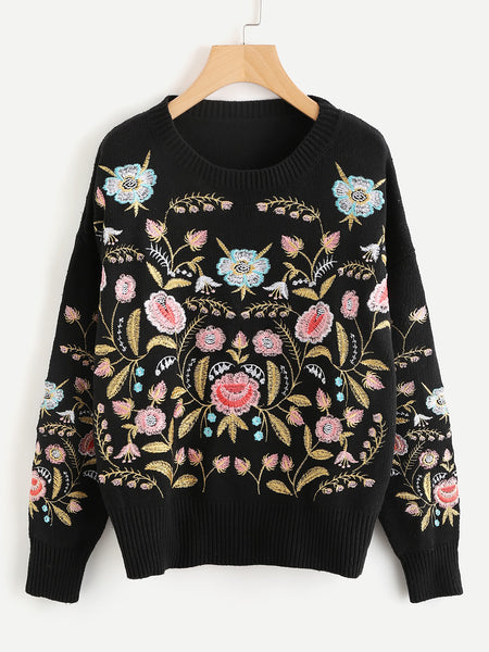 Black Botanical Embroidered Ribbed Trim Pullover