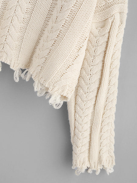 Apricot Drop Shoulder Raw Edge Cable Knit Crop Sweater