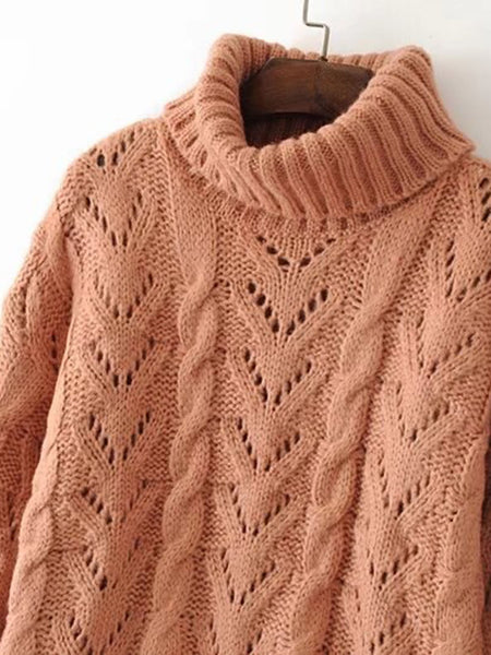 Brown Turtleneck Scalloped Trim Crochet Loose Knitwear