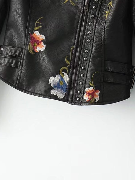 Black Zip and Studded Detail Floral Embroidery PU Biker Jacket