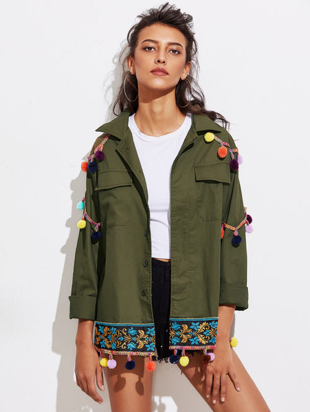 Green Detail Utility With Jacquard Tape And Pom Pom Jacket