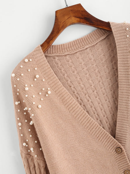 Camel Deep V-Neck Front Button Faux Pearl Beading Side Slit Cable Cardigan
