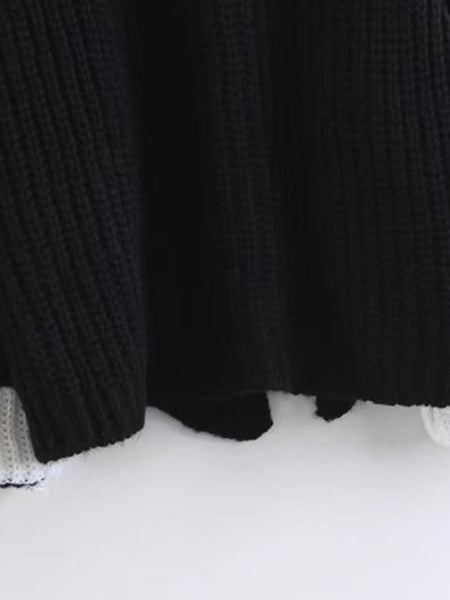 Black Contrast Cuff Raglan Sleeve Sweater