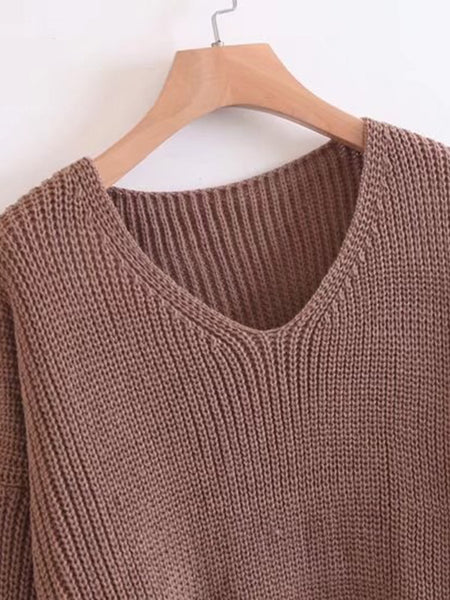 Brown V-Neck Lace Up Side Loose Sweater