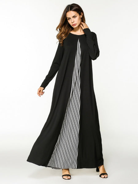 Black Stripe Contrast Color Block Round Neckline Long Sleeve Full Length Maxi Dress