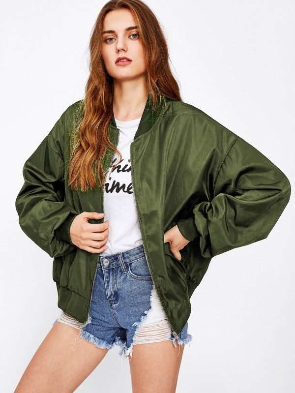 Army Green Oversized Bomber Patch Back Ribbon Detail Jacket