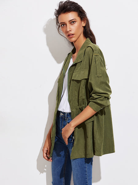 Green Flap Pocket Drawstring Waist Utility Jacket