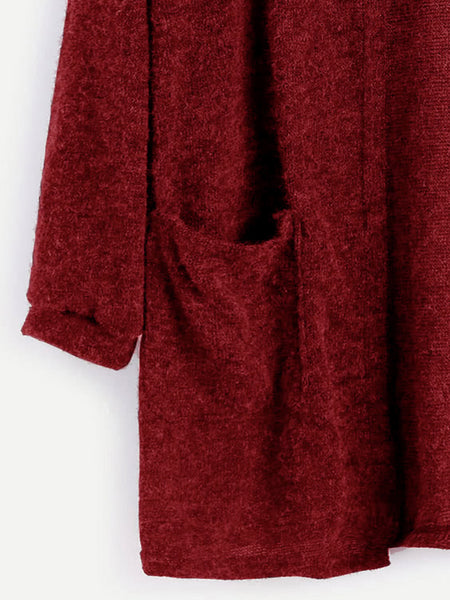 Burgundy Open Front Dual Pocket Cardigan