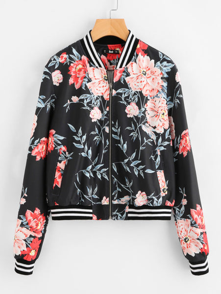 Black Floral and Striped Trim Zip Up Jacket