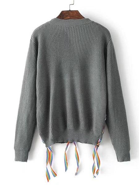 Grey Contrast Lace Up Ribbed Knit Sweater