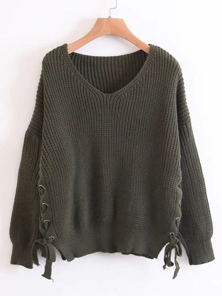 Green V-Neck Lace Up Side Loose Sweater
