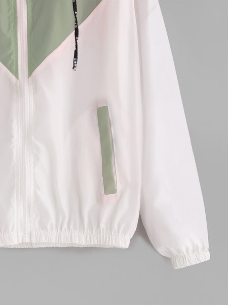 Green and White Drawstring Zip Up Hooded Jacket