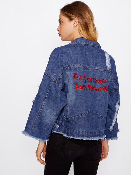 Blue Drop Shoulder Frayed Hem Ripped Denim Jacket