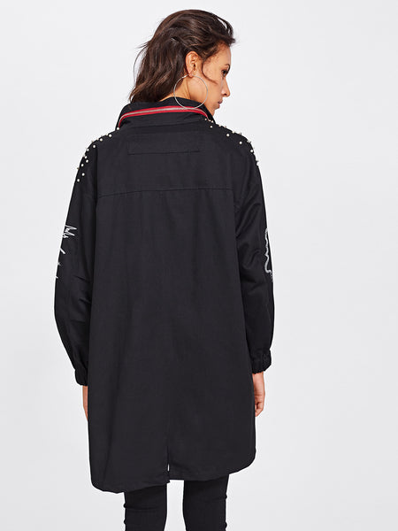 Black Embroidered Faux Pearl Decoration Long Jacket