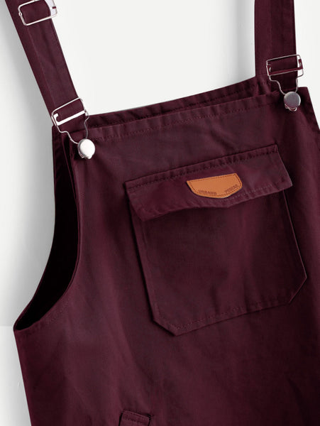 Burgundy Front Patch Pocket Spaghetti Straps Sleeveless Pinafore Mini Dress