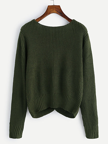 Army Green V-Neck Twist Front Loose Sweater