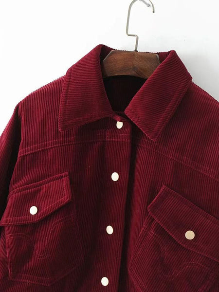 Burgundy Collared Flap Pocket Corduroy Jacket