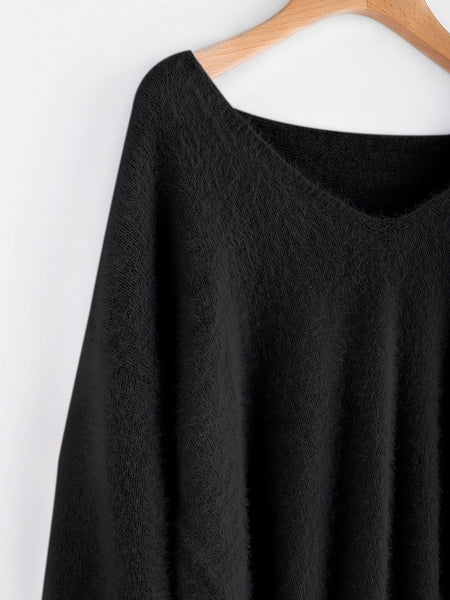 Black V-Neck Lantern Sleeve Fluffy Sweater