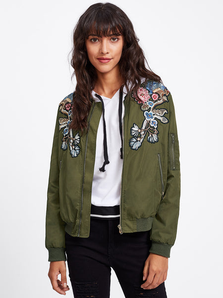 Green Embroidery Patch Zip Up Detail Jacket