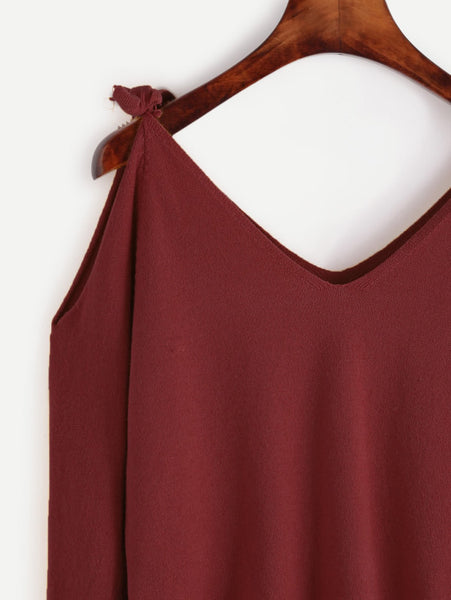 Burgundy Double V-Neck Self Tie Open Shoulder Sweater