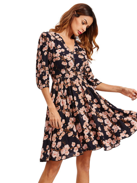 6292d195a513 Navy Overall Floral Print Buttoned Front V-Neck 3/4 Sleeve Shirred Waist  Smock