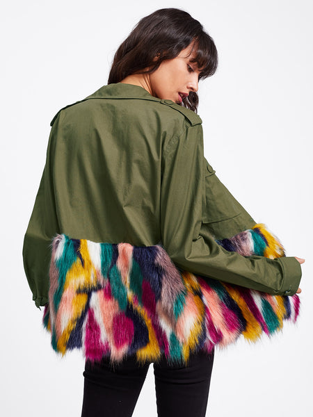 Army Green Colorful Faux Fur Dual Pocket Buttoned Jacket