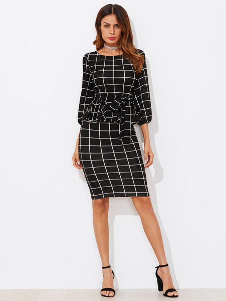 Black Overall Plaid Round Neckline 3/4 Sleeve Tie Waist Grid Peplum Midi Dress