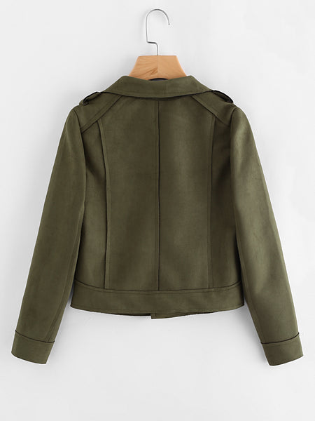 Army Green Zip Detail Suede Jacket