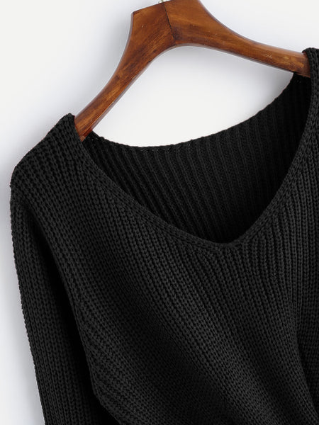 Black V-Neck Twist Front Loose Sweater