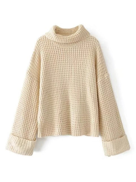 Beige Turtleneck Drop Shoulder Waffle Knit Sweater