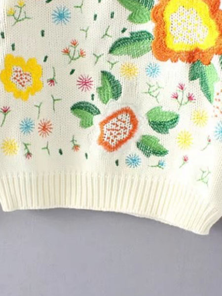 Beige Floral Embroidered Round Neck Ribbed Trim Sweater