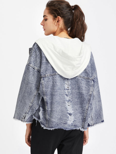 Blue Contrast Raw Hem Hood Frayed Denim Jacket