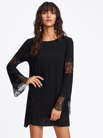 Black Eyelash Lace Contrast Scallop Double Layer Dress