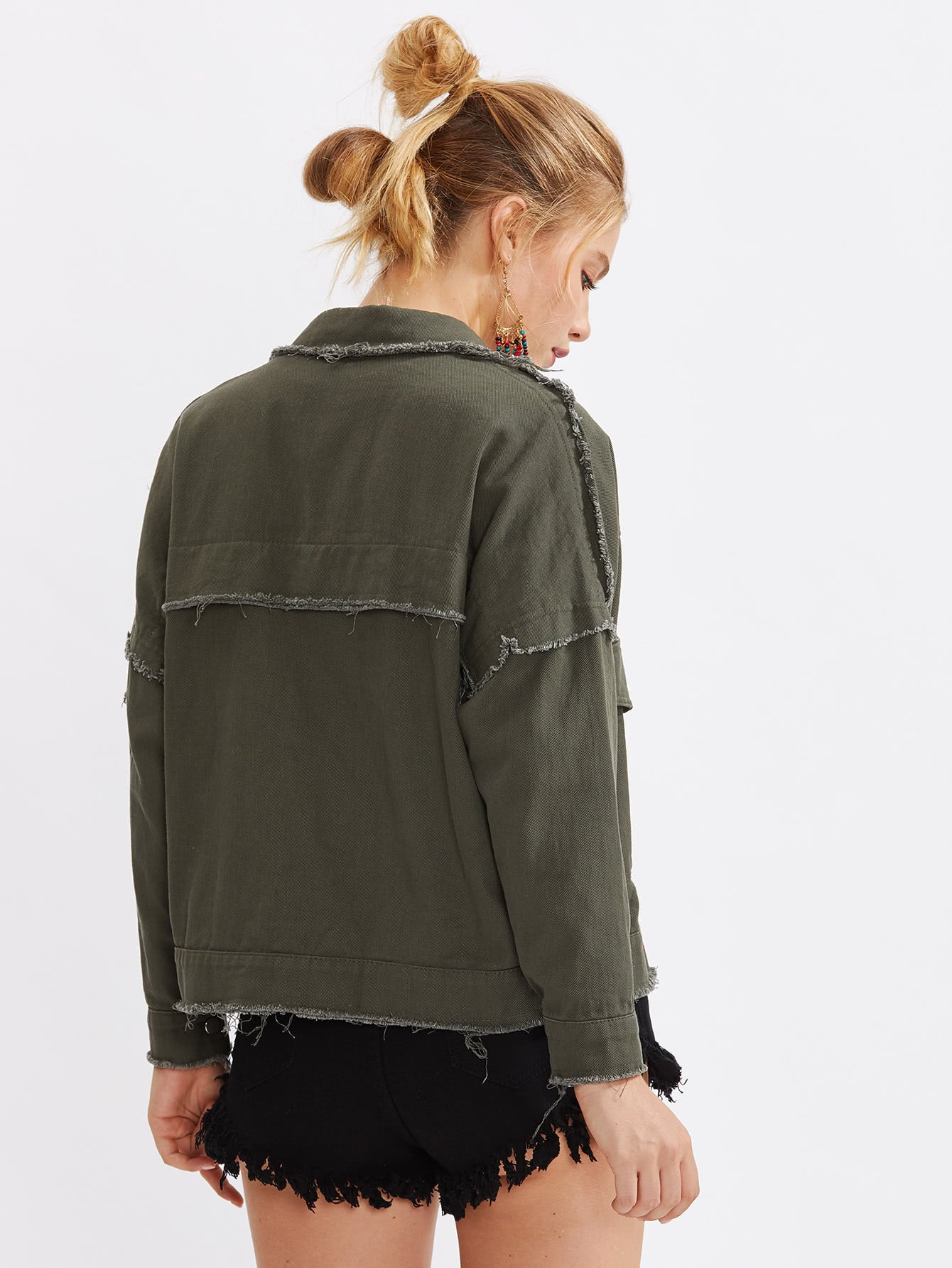 Army Green Frayed Trim Drop Shoulder Denim Jacket